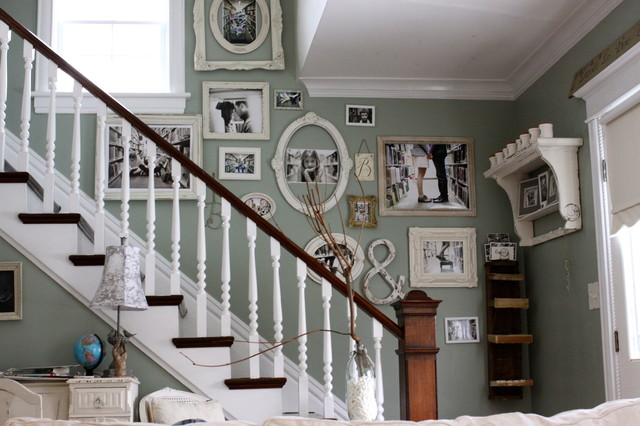 10x10 Picture Frame Staircase Shabby Chic with Banister Cottage Gallery Wall