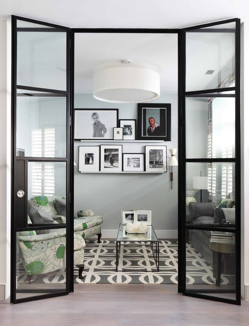 4x4 Picture Frame Living Room Contemporary with Black and White Photos