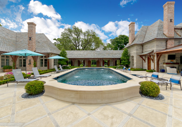 Above Ground Pools with Decks Pool Traditional with Blue Umbrellas Chimney Covered
