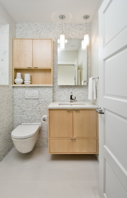 Above Toilet Cabinet Bathroom Contemporary with Bianco Carrara Floating Bathroom