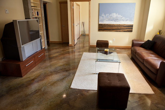 Acid Wash Concrete Family Room Contemporary with Acid Wash Concrete Floor