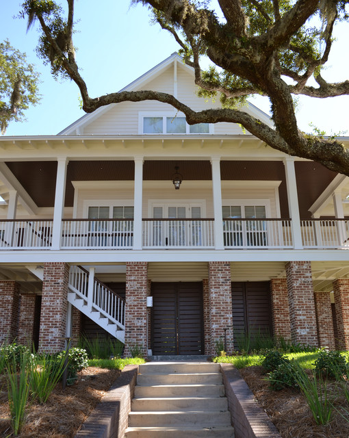 Acme Brick Exterior Traditional with Brick Columns Deck Eaves