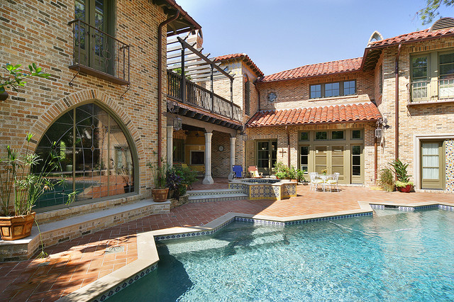 Acme Brick Pool Mediterranean with Accent Tile Back Yard