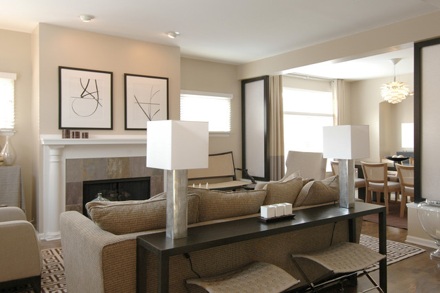 Acrylic Console Table Family Room Contemporary with Artwork Baseboards Ceiling Lighting