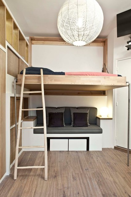 Adult Loft Beds Bedroom Contemporary with Built in Sofa Built