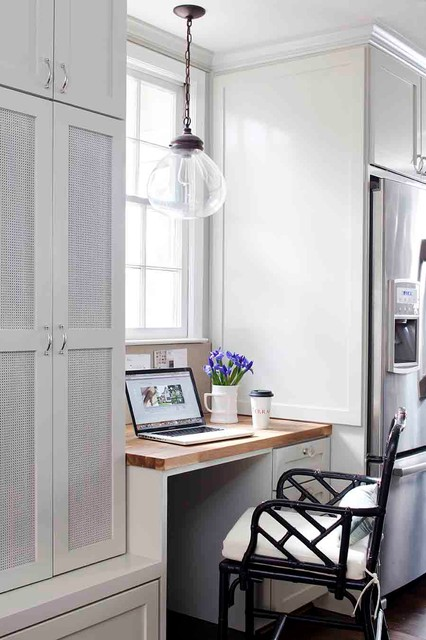 Allen and Roth Lighting Home Office Transitional with Built in Desk Built in Workstation