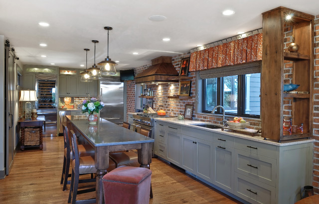 allen and roth lighting Kitchen Transitional with barn doors brick wall