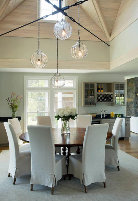 Allen Roth Lighting Dining Room Contemporary with Centerpiece Chairs Coastal Hardwood