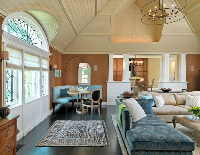 Alphera Financial Services Family Room Transitional with Addition Aqua Arched Transom
