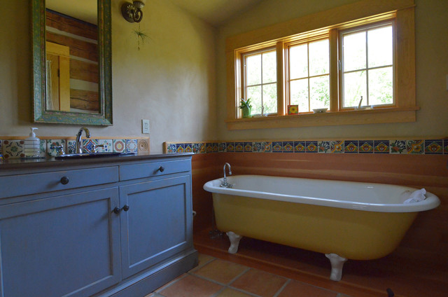 American Olean Tile Bathroom Rustic with Blue Cabinets Cabin Claw Foot