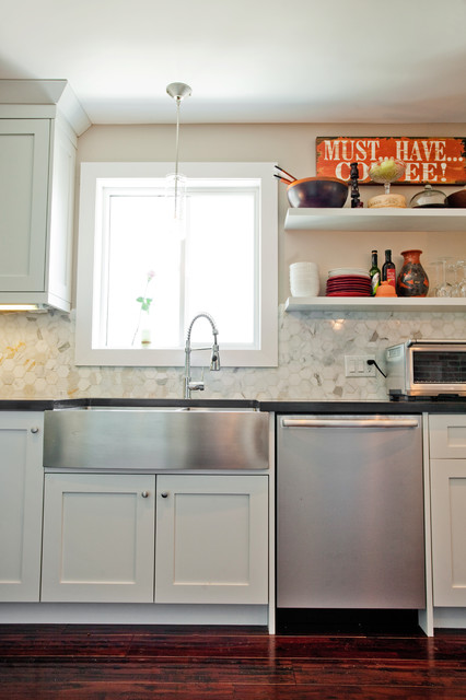 apron front sink Kitchen Eclectic with black granite brick wall