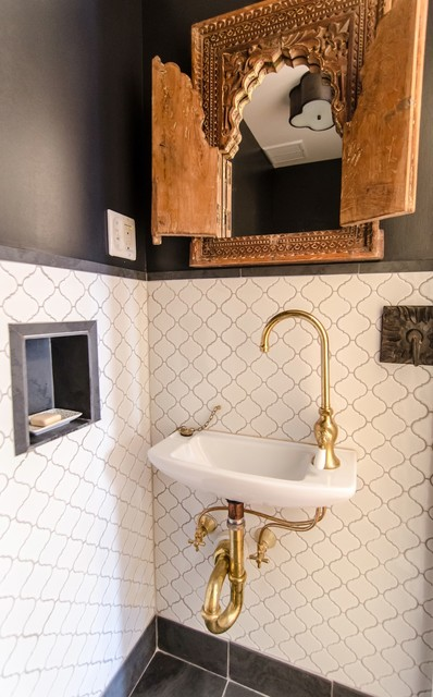 Arabesque Tile Powder Room Mediterranean with Antique Carved Wooden Mirror