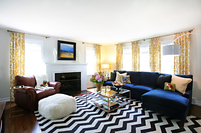 Arc Floor Lamp Living Room Transitional with Black and White Chevron