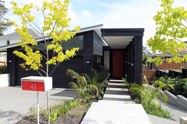 architectural mailboxes Exterior Contemporary with black exterior black garage