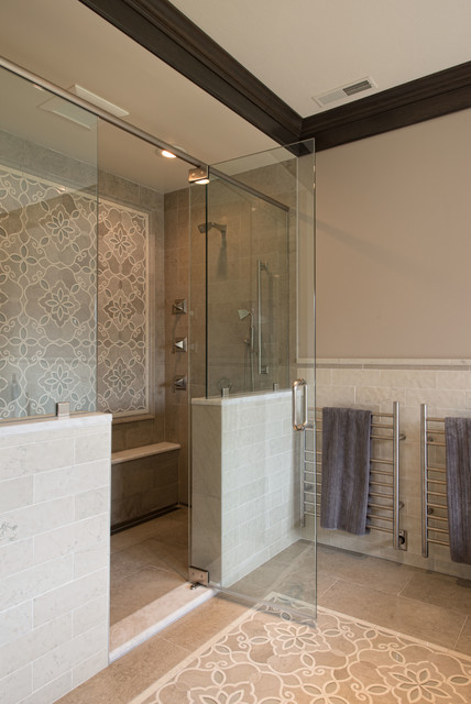 Arizona Tile Tempe Bathroom Traditional with Crown Molding Frameless Shower