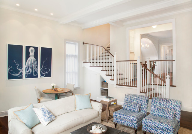 Armless Chair Family Room Beach with Baseboards Blue Chairs Ceiling