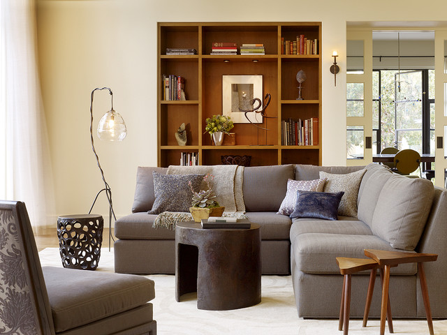 Armless Sofa Living Room Transitional with Area Rug Bookcase Bookshelf