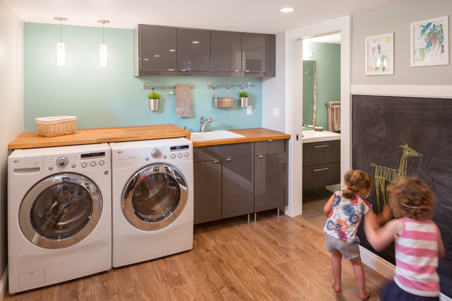 Armoire Ikea Laundry Room Contemporary with Baseboards Basement Basement Remodel