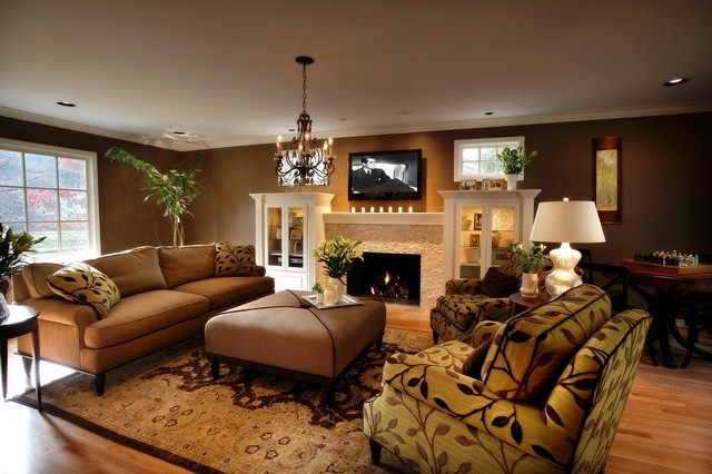 Arteriors Home Living Room Traditional with Beige Armchair Brown Ottoman