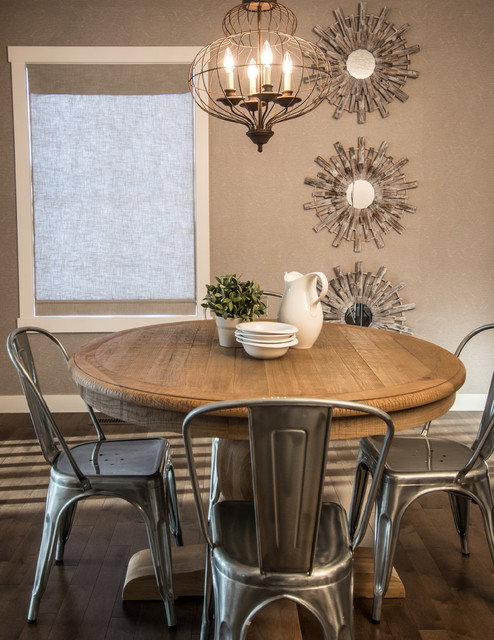 Arteriors Lighting Dining Room Rustic with Driftwood French Cafe Chairs