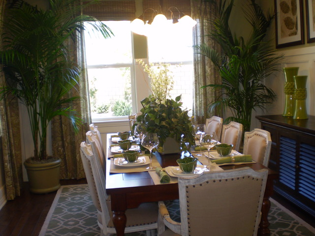 Artificial Orchids Dining Room Transitional with Centerpiece Arrangements House Plants