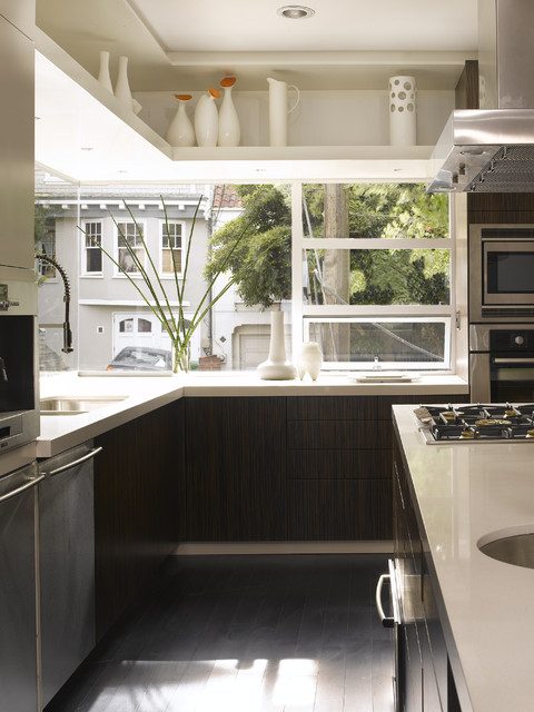 Artscape Window Film Kitchen Contemporary with Above Window Shelf Cooktop