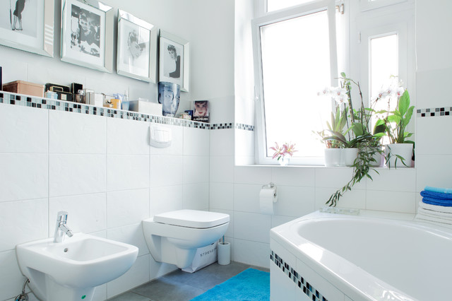 Audrey Hepburn Canvas Bathroom Transitional With Accent Tile Band