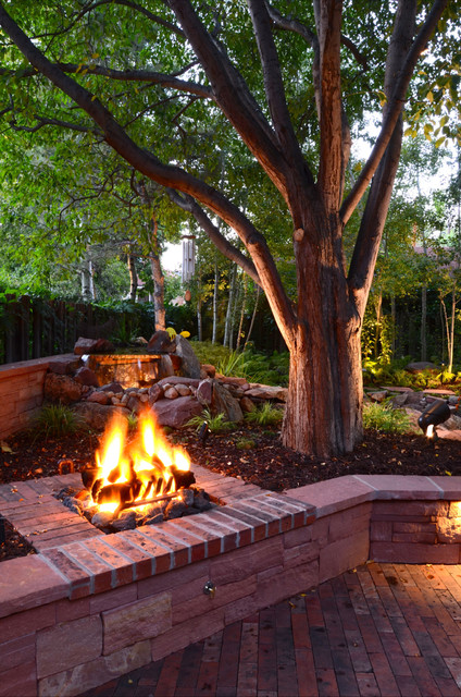 Backyard Fire Pit Ideas Landscape Traditional with Backyard Boulders Brick Brick