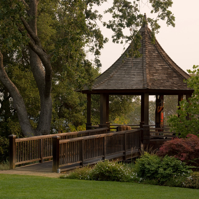Backyard Gazebo Landscape Traditional with Bushes Covered Patio Gazebo