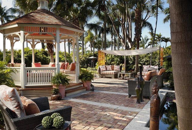 Backyard Gazebo Patio Tropical with Awning Basketweave Pattern Brick