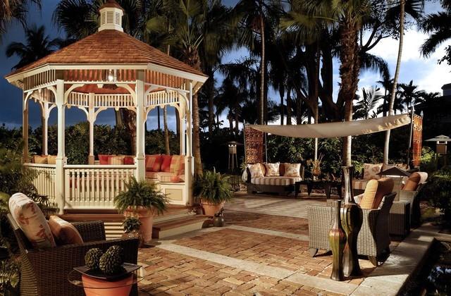 Backyard Gazebo Patio Tropical with Awning Brick Paving Container