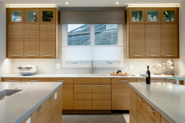 Bamboo Countertops Kitchen Contemporary with Bamboo Cabinets Beverage Center