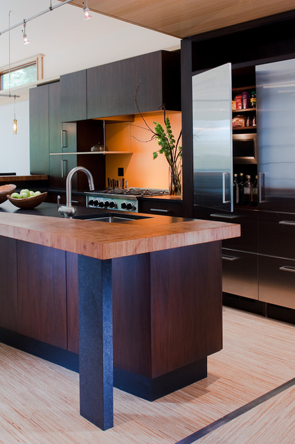 Bamboo Countertops Kitchen Modern with Accent Color Bamboo Ceiling