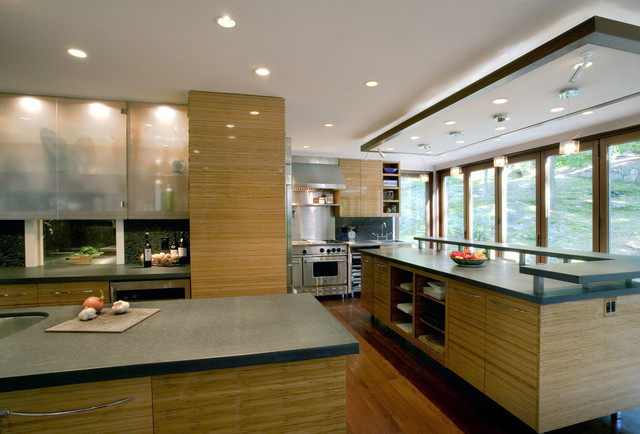 Bamboo Countertops Kitchen Modern with Backlighting Ceiling Lighting Cove1