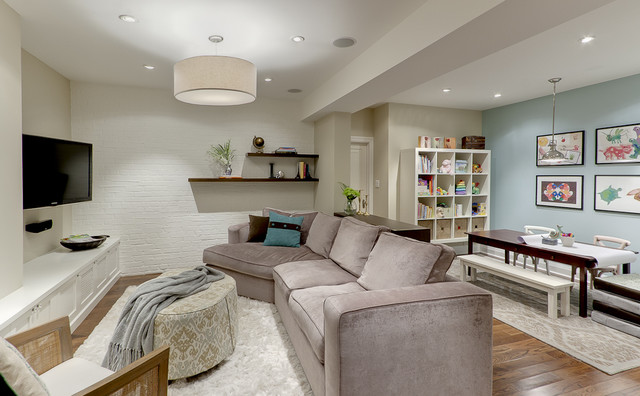 Basement Finishing Ideas Basement Traditional with Accent Wall Area Rugs