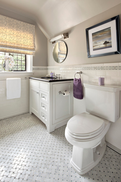 Basket Weave Tile Bathroom Contemporary with Basketweave Tile Chair Rail
