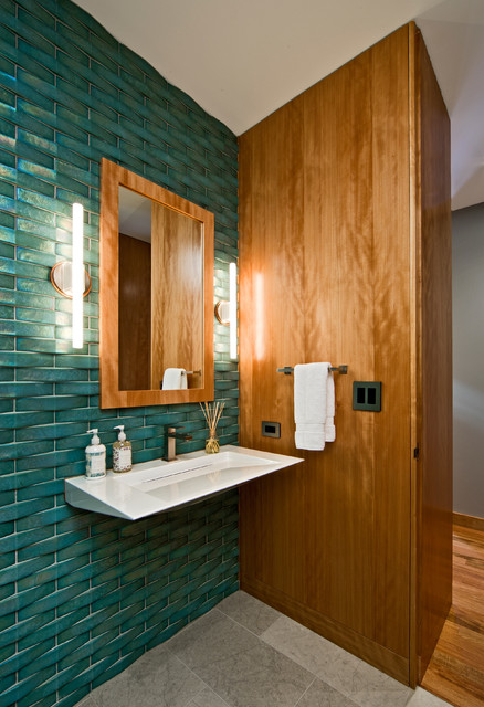 basket weave tile Bathroom Modern with accent wall basket weave