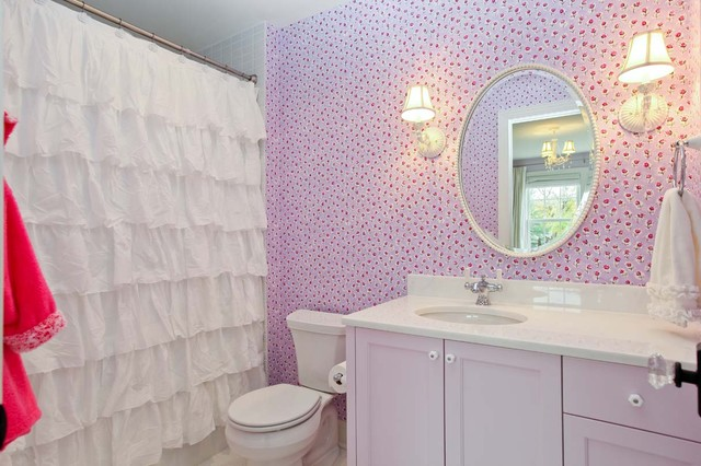 bathroom shower curtains Bathroom Shabby-chic with oval mirror pink cabinets