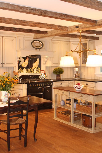 Beadboard Backsplash Kitchen Farmhouse with Beige Cabinets Beige Drawers