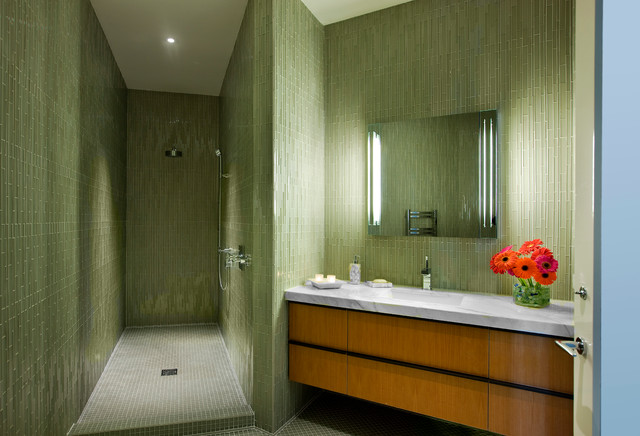 Bedrosians Tile Bathroom Midcentury with California Chandelier Chrome Colors