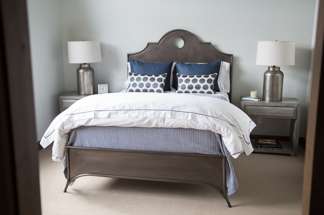 Benjamin Moore Gray Owl Bedroom Transitional with Bachelor Pad Bedding Beige