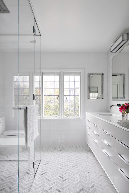 Berenson Hardware Bathroom Contemporary with Herringbone Tile Mirrors Muntins