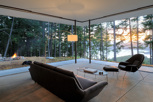 Berg Furniture Living Room Contemporary with Beautiful View Concrete Floor