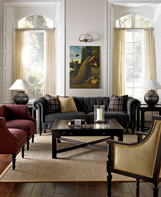 bernhardt sofa Living Room Contemporary with area rug artwork chesterfield
