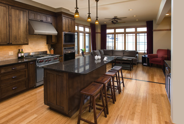 Bertch Cabinets Kitchen Traditional with Barstools Beam Ceiling Fan1