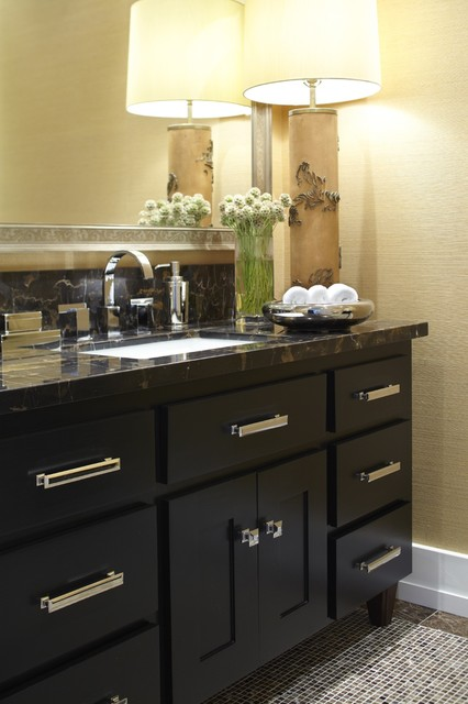 Bertch Cabinets Powder Room Transitional with Baseboards Bath Accessories Bathroom
