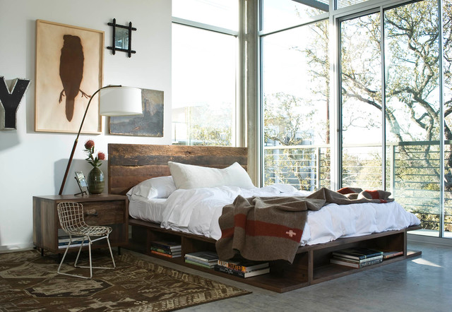 bertoia chair Bedroom Industrial with area rug bed beds