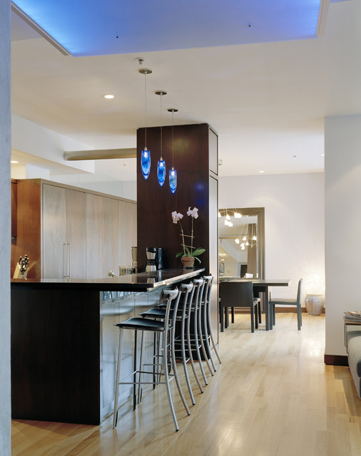 besa lighting Kitchen Contemporary with bar stools barstools blue