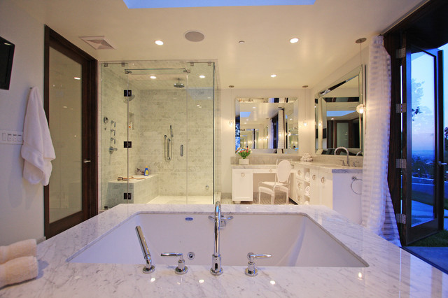 beveled mirror Bathroom Contemporary with beveled mirror ceiling lighting