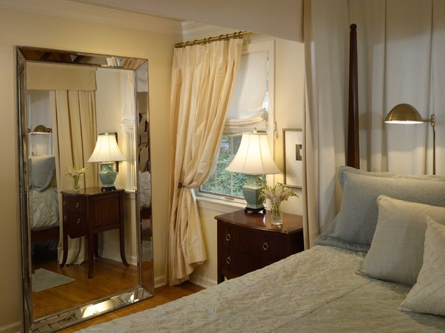 Beveled Mirror Bedroom Traditional with Bedside Table Beveled Mirror
